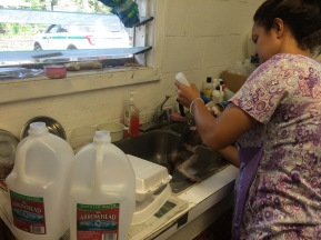 The kitchen sink serves many purposes including washing new patients